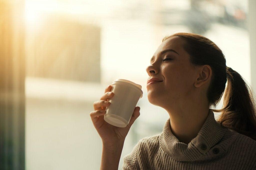 lady drinking coffee